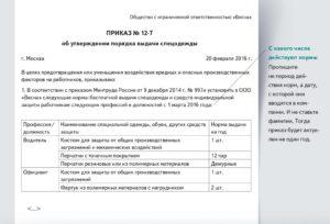 Заявка на приобретение спецодежды образец