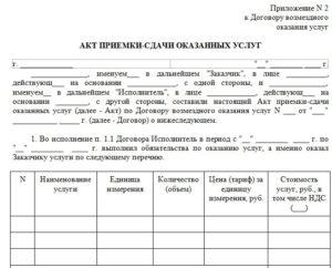 Акт выполненных работ по договору оказания юридических услуг