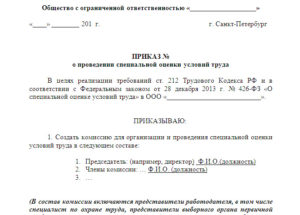 Приказ о создании комиссии по проведению соут образец скачать