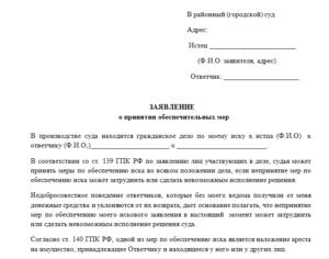 Образец заявления в суд об отмене обеспечительных мер