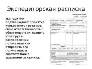 Пример заполнения складская расписка