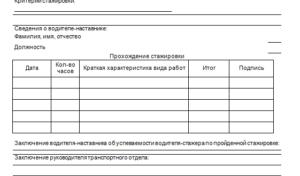 Лист стажировки водителя образец заполнения