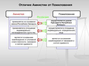 Отличие амнистии от помилования таблица