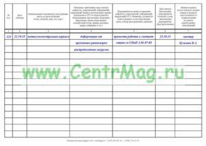 Правильность заполнения журнала осмотров сооружений  производственных и служебных зданий