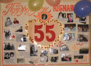 Плакат с юбилеем 55 лет женщине своими руками