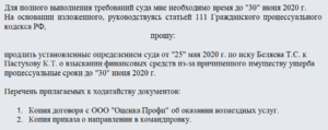 Заявление о продлении сроков оставления без движения