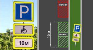 Знак зона действия остановка для инвалидов