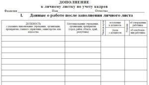 Дополнение к анкете в личное дело бланк скачать