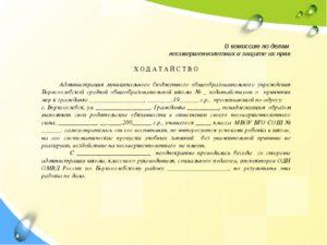 Заявление в отдел по делам несовершеннолетних образец
